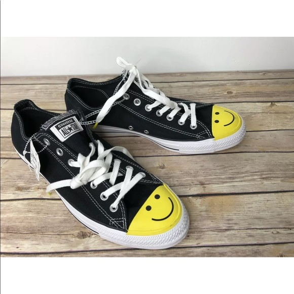 Converse All Star Ox Yellow Smiley Face Low 12/14